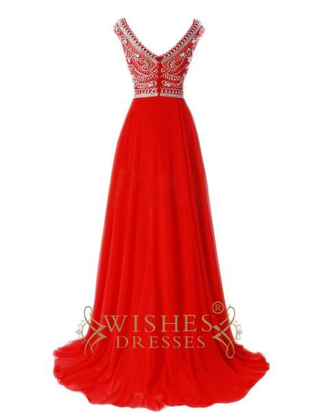 A-line Red chiffon O neckline with beaded and v cut back to show the sexy style ,this long formal dress is also elegant can be wear to any formal party.Necklin