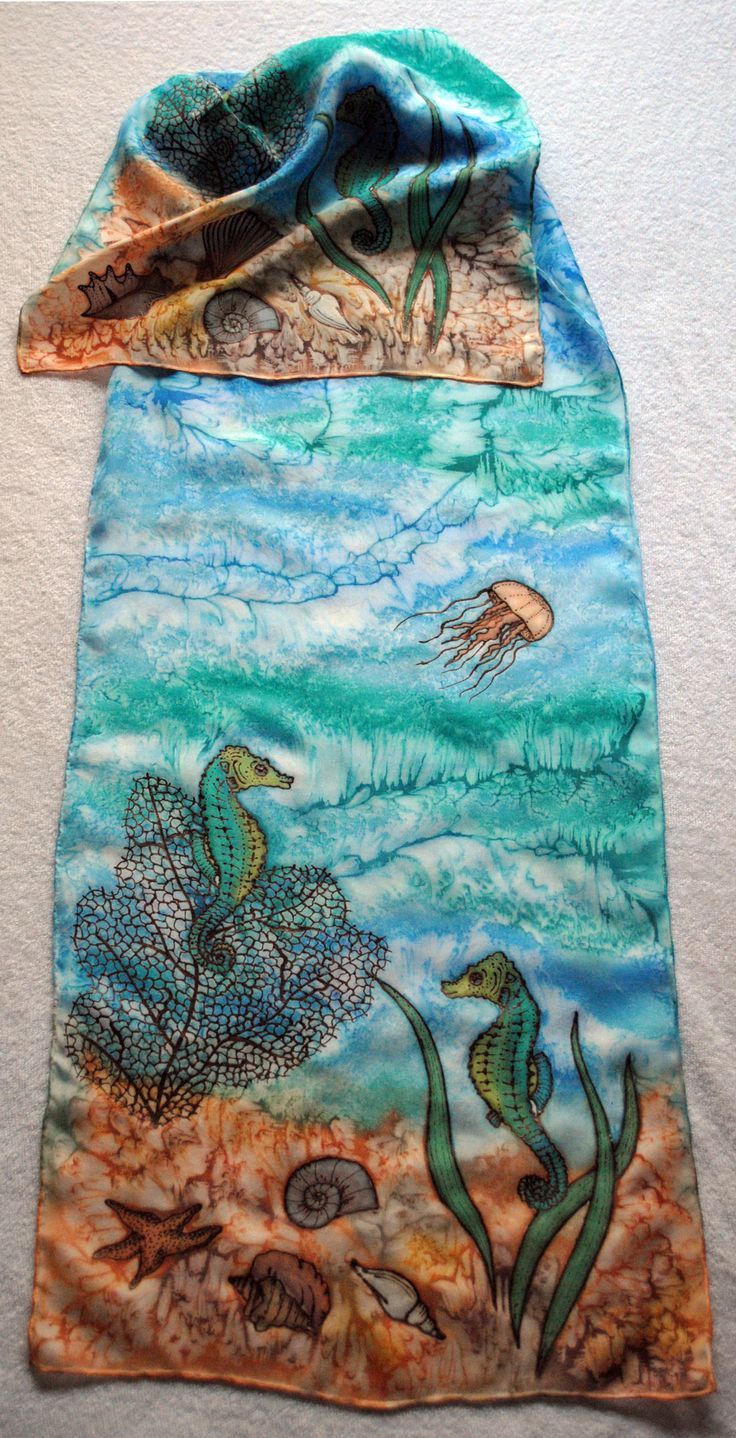 Silk scarf The sea Hedvábný šál Moře 35x130 cm