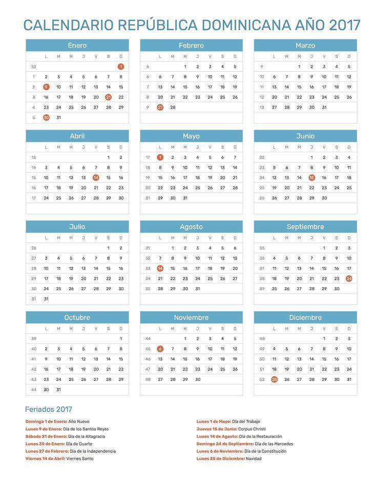 Calendario de República Dominicana con feriados nacionales año 2017. Incluye versión para imprimir en formato JPG y PDF totalmente gratis.