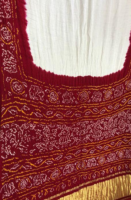 eb56aad799 Off White and Red Handloom Bandhani Pure Gajji Silk Saree | Saris ...