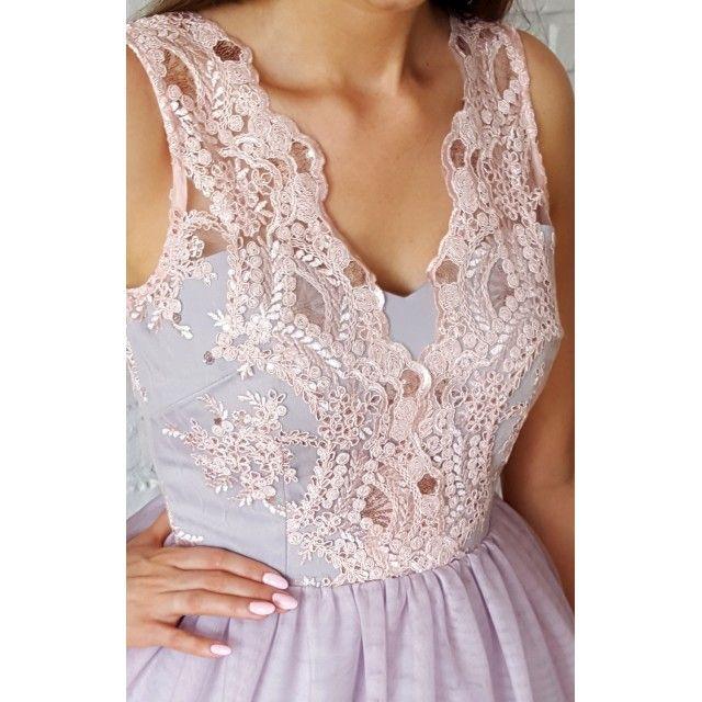 Honey- Tiulowa sukienka z gipiurą pudrowo-szary  Honey - tulle prom dress