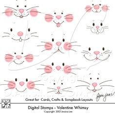 Easter Bunny Faces - Clip art, PNG graphics - 300 dpi high resolution graphics of Easter Bunny Faces by Gina Jane Designs - DAISIE Company