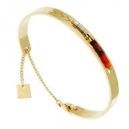Bracelet Jonc Flèche et Perles Zag bijoux (doré/rouge) - Bijoux Fantaisie…