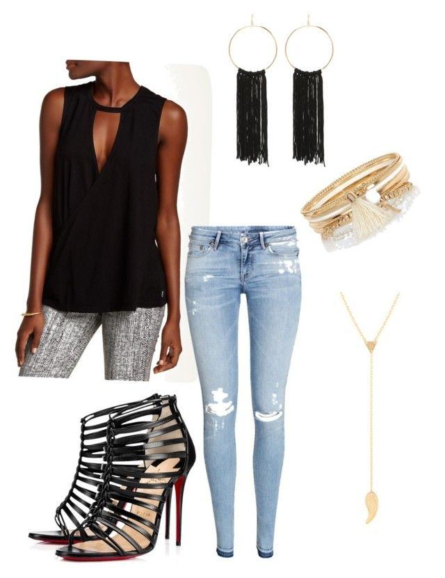 """""""Casual Bar Outfit"""" by heidiliis-meier on Polyvore featuring RVCA, H&M, Christian Louboutin, Bebe and River Island"""