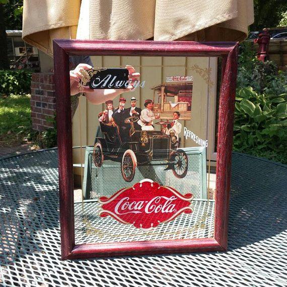 Vintage Coca Cola 1939 Cardboard Poster Mirror Sign Bar