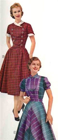 1950s Fashions From Montgomery Ward 3 red purple day dress house dress casual wear plaid short sleeves full skirt