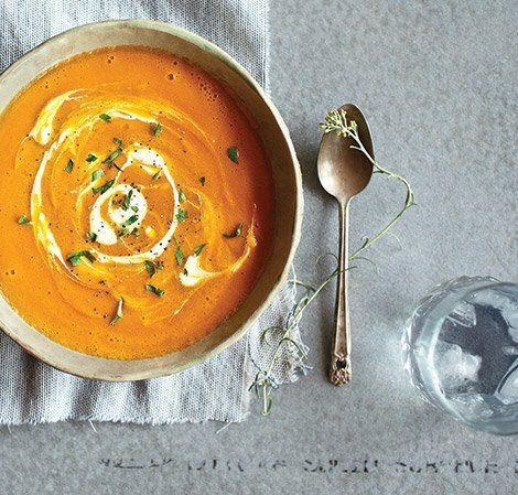 Curried Carrot Soup 6 (366 g) medium carrots, cut in large pieces 1 (70 g) small onion, chopped 2 cups (480 ml) vegetable broth 1/2 cup (120 ml) plain soy milk 3/4 teaspoon curry powder 1/8 lemon, peeled 1/2 teaspoon salt Ground black pepper, to taste