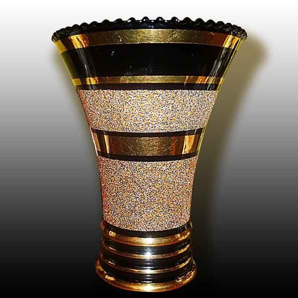 vase en cristal de boom noir dor or 24 carats art d co pinterest vase. Black Bedroom Furniture Sets. Home Design Ideas