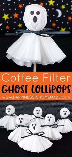 These coffee filter ghost lollipops are a cute and easy twist on classic kleenex… (Diy Wreath Coffee Filter)