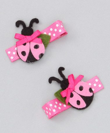 Another great find on #zulily! Pink Big Ladybug Clip Set #zulilyfinds