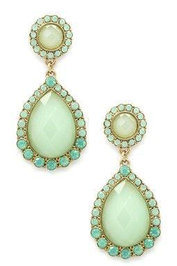 Green Crystal Double Drop Earrings