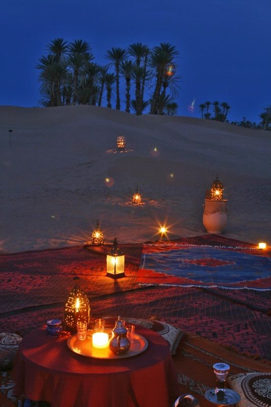 romantic desert camp in Morocco's Sahara desert....