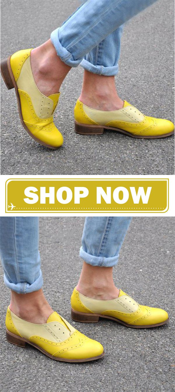 c800deed9a45 Color Block Oxford Shoes Casual Slip On Loafers