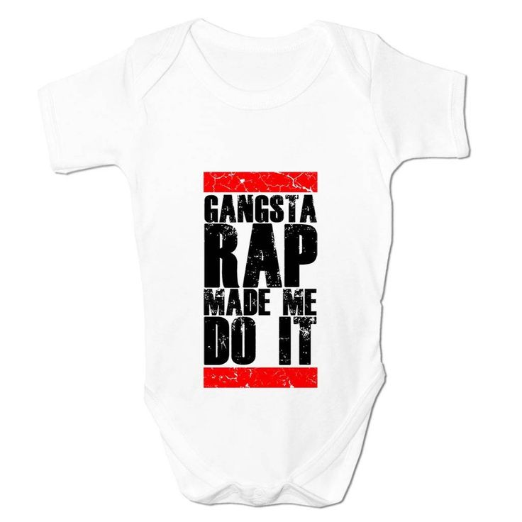 Funny Baby Grow Gangsta Rap Made Me Do It Babies Clothing Cool Fun Gift 6-9 Months White