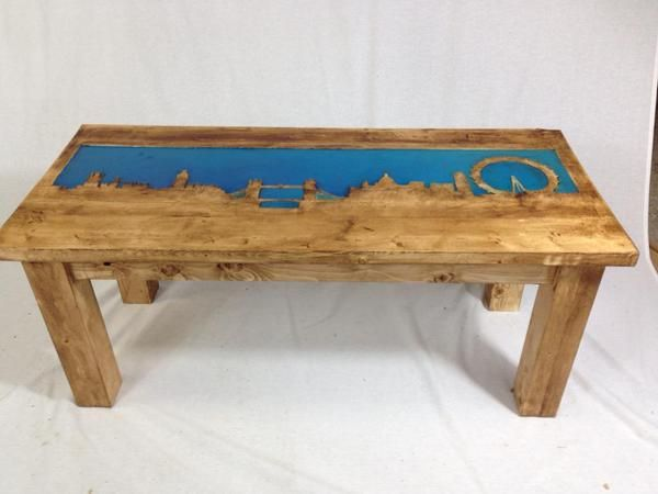 Luminescent London Skyline Coffee Table Hand Crafted