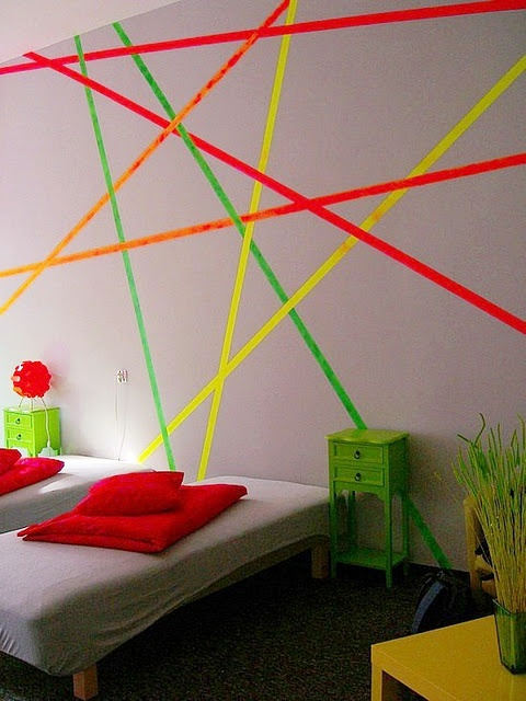 neon wall stripes... very cool