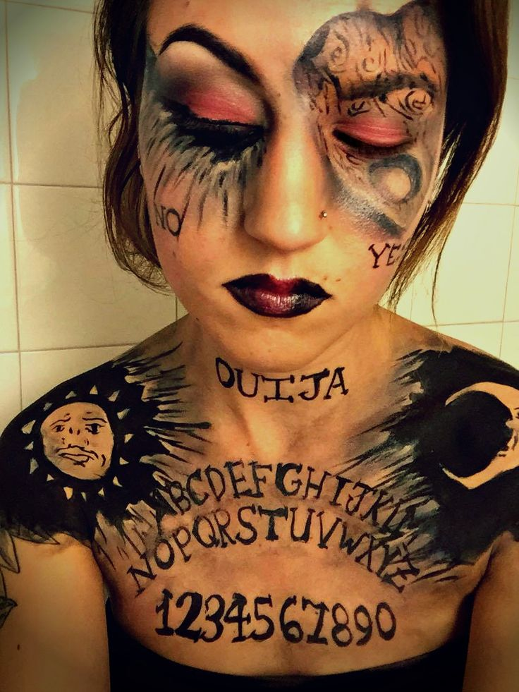 Ouija makeup look. Ouija board makeup. Ouija board costume. Makeup. Special fx. Halloween makeup.