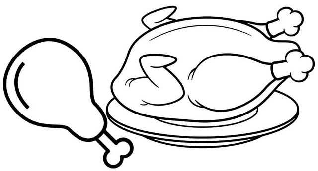 Delicious Fried Chicken In The Plate Coloring Page Chicken Coloring Pages Fried Chicken Coloring Pages