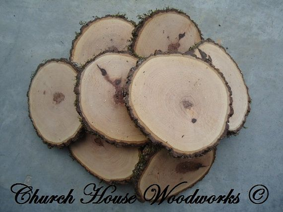 """10 qty  4"""" hickory wood slices, rustic coasters, tree coasters, decoration,  rustic weddings, rustic wedding coasters"""""""