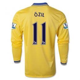 13-14 Arsenal #11 OZIL Away Yellow Long Sleeve Jersey Shirt
