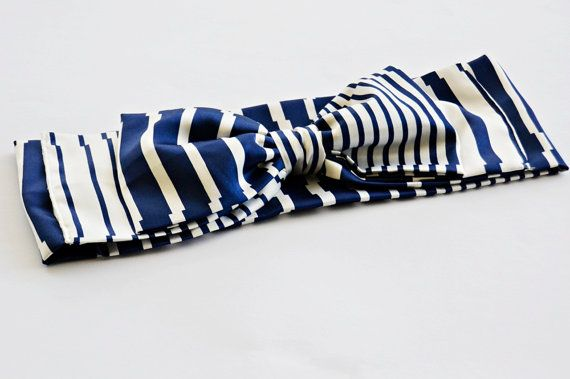 Navy and White Stripes Turban Headband Boho by BizimFlowers