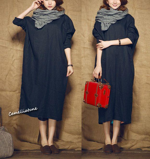 long linen dress/ loose fitting shirt dress in black / longsleeve dress  - custom. $88.00, via Etsy.