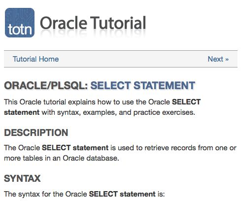 Oracle tutorial explains how to use the Oracle SELECT statement