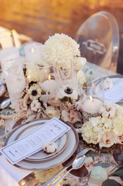 gorgeous pearl romantic reception wedding flowers,  wedding decor, wedding flower centerpiece, wedding flower arrangement, add pic source on comment and we will update it. www.myfloweraffair.com can create this beautiful wedding flower look.