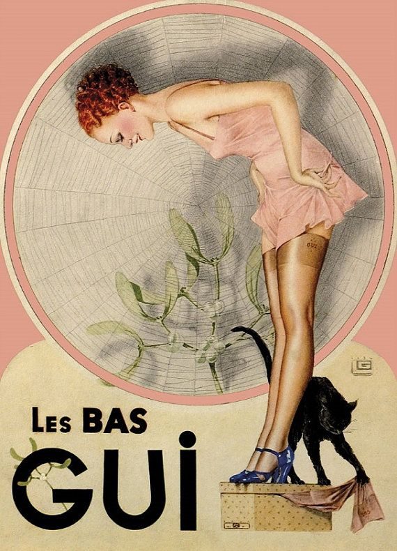 French stockings #vintage #hosiery #ad La Bas Gui cute redhead in dusty pink nightgown & black cat circa 1940