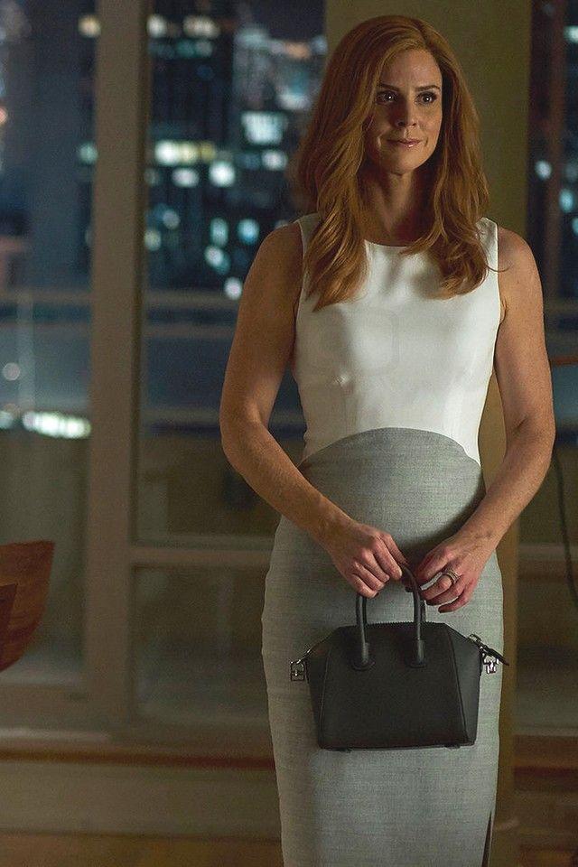 Donna Paulsen wearing  Jimmy Choo Blush Patent Pointy Toe Pumps, Givenchy Mini Antigona Bag, Altuzarra Shadow Sheath Dress