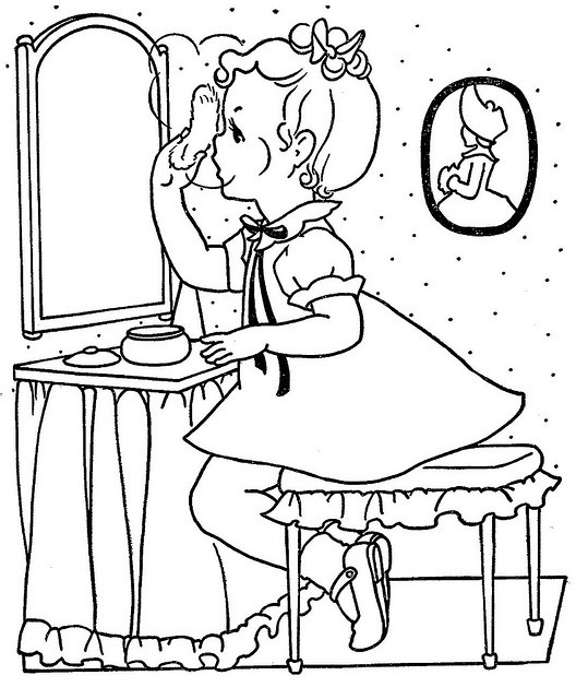 Vintage Coloring Book Pages, use as embroidery outlines