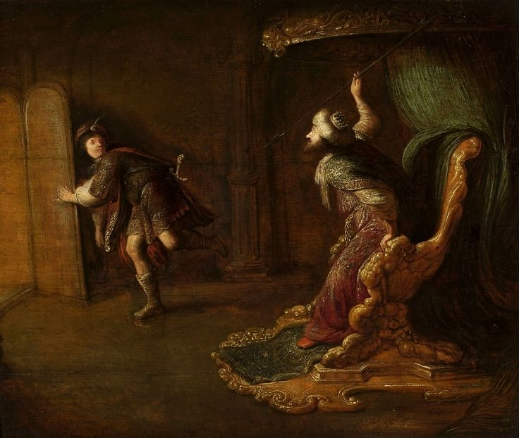 Staveren Saul's anger at David - Category:Saul throwing spear at David - Wikimedia Commons