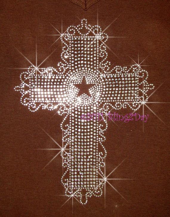 Western Star Cross Iron on Rhinestone Transfer Hot by BlingPalace, $8.99