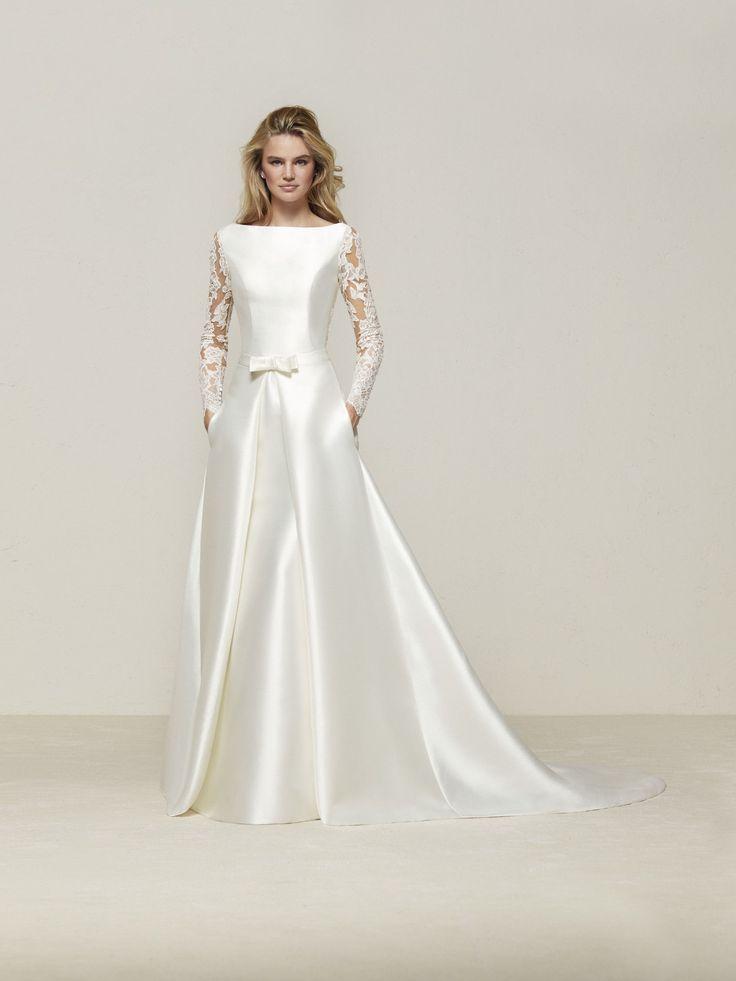 Drales: Elegante abito da sposa a sirena in mikado con manica lunga e schiena effetto tatuaggio - Pronovias