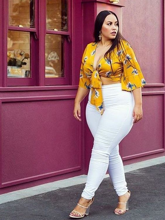 1e33c27269 How stunning does this bright tie-up top go with white jeans. Try this  style today.