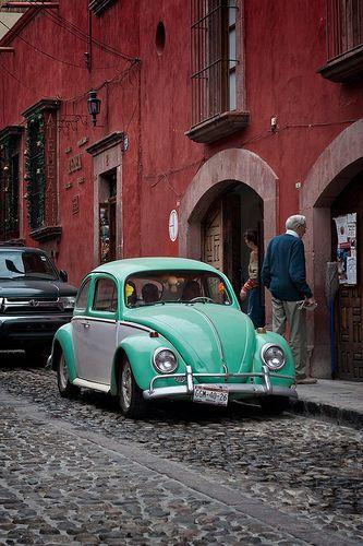 Seafoam on Brick by eric.lovelin, via Flickr, San Miguel de Allende, VW Beetle, Volkswagon Bug