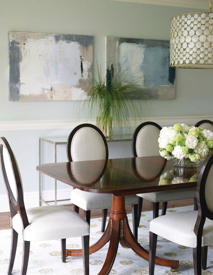 2 pieces of diy art + table under ...   House of Turquoise: Susan Glick Interiors
