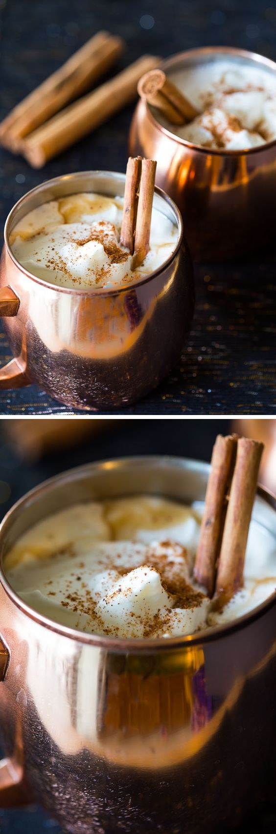 This hot buttered rum cocktail recipe packs a warm, festive punch. It's sweet, buttery, rich, and creamy. Make a big batch for the Christmas holidays.