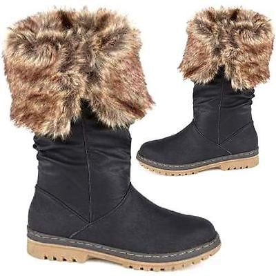 LADIES-BIKER-BOOTS-WOMENS-GIRLS-FLAT-RIDING-MID-CALF-WINTER-FASHION-SHOES-SIZE