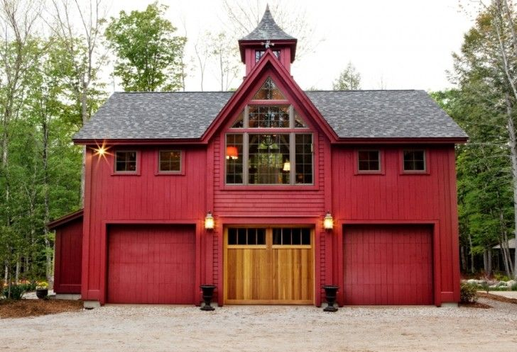 Home Apartment A Unique Red Private Pole Barn House With Roof Castle Look Like And Metal Siding Wood Front Door Two Garage Doors