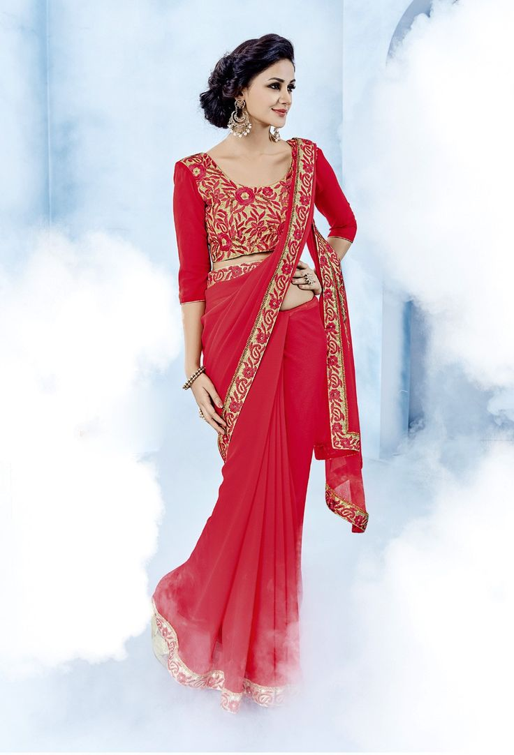 Beautiful red chiffon saree with designer blouse
