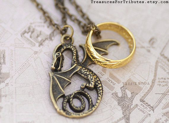 The Hobbit Necklace, Smaug the Dragon Jewelry, The One Ring Charm, Lord of the Rings Jewelry, Fantasy Charm, Dragon Jewelry, Bilbo Jewelry on Etsy, £20.06 WANT!!!