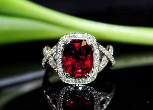 Engagement Ring - 3 Carat Garnet Ring With Diamonds In 14K White Gold. $895.00, via Etsy.