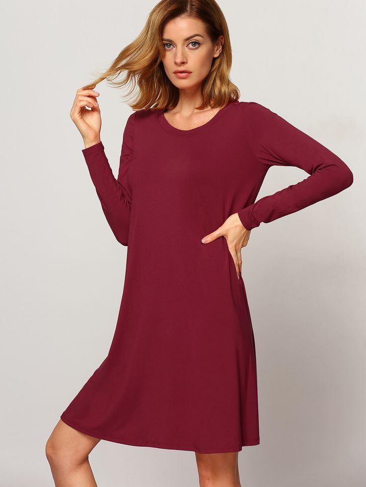 Wine Red Oxblood Long Sleeve Casual Babydoll Dress ...