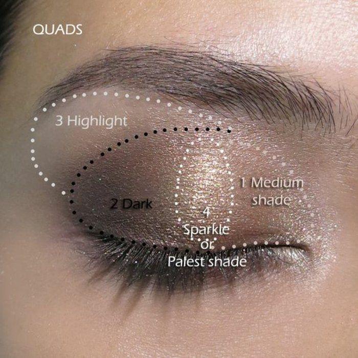 maquillage doré dans la gamme marron, maquillage yeux marrons