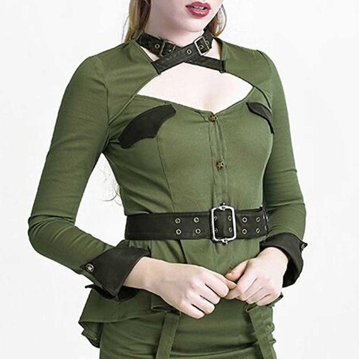 Girl Soldier militaire stijl top met taille riem en gespen detail groen - Kostuum Burlesque