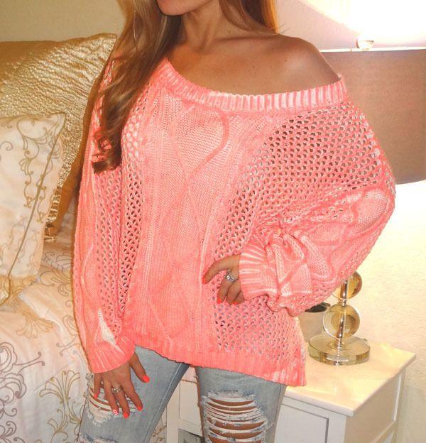 victorias secret love pink spray paint coral off shoulder sweater. Black Bedroom Furniture Sets. Home Design Ideas