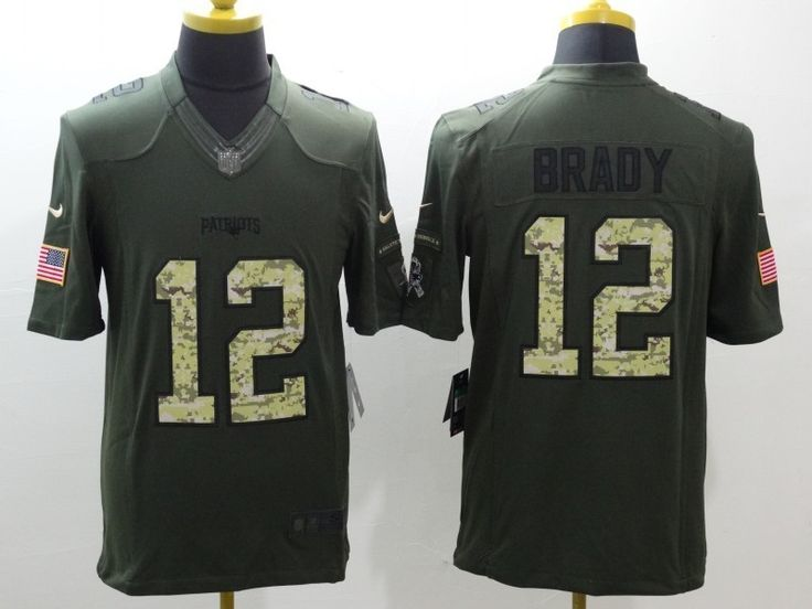 New England Patriots 12 Tom Brady Green Salute To Service Limited Jersey