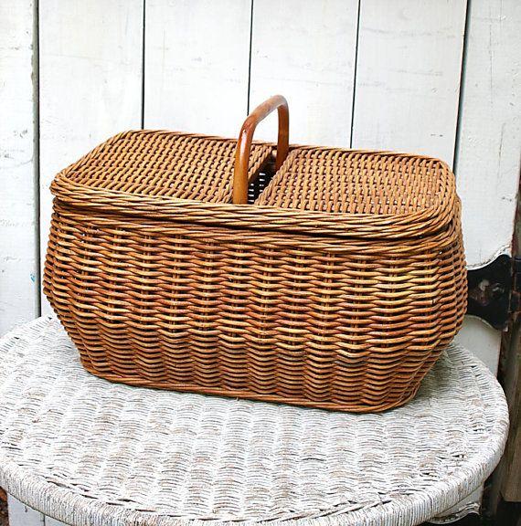 70s Wicker Picnic Basket Woven Wicker Basket by KickassStyle, $25.00