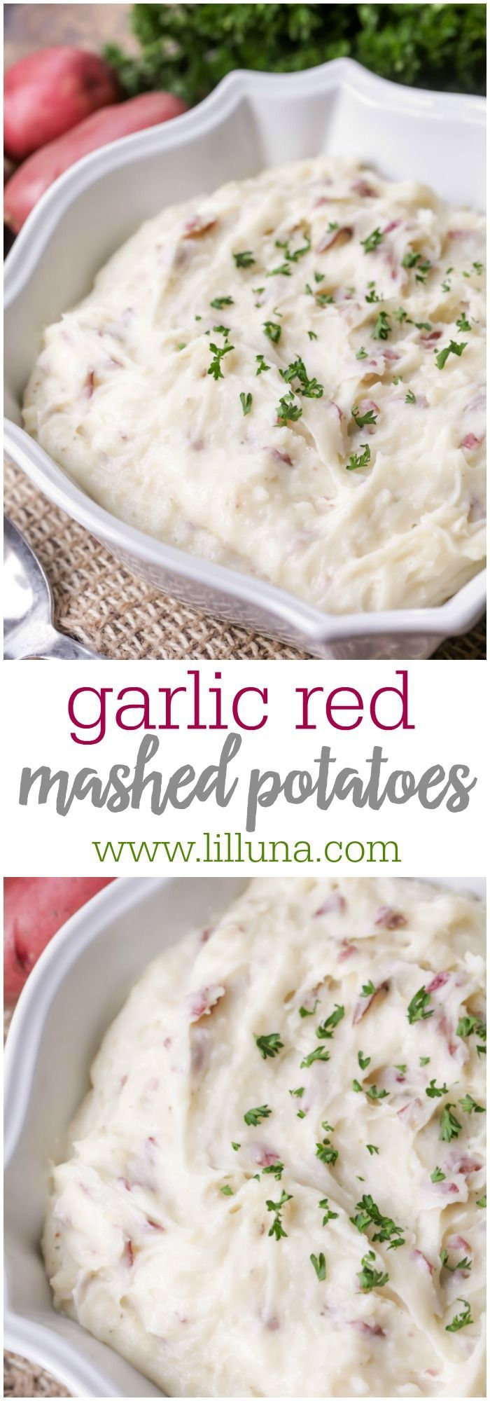 Garlic Red Mashed Potatoes - creamy, flavorful potatoes perfect as a side dish with any meal!